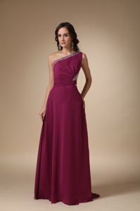 Burgundy Asymmetrical One Shoulder Beading Universe Pageant Dress