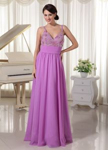 Spaghetti Straps for Lavender Appliques Pageant Dress with Beading