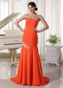 Appliques One Shoulder Sheath Interview Pageant Suits in Orange Red