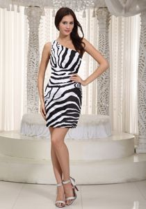 Eureka White and Black One Shoulder Girl Pageant Dress with Zebra
