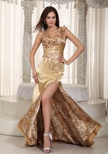 Leopard for Champagne One Shoulder with Beading Pageant Dresses