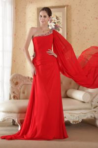 Gilroy Red Beading One Shoulder Pageant Dresses Attached Watteau
