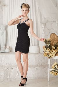 Column for Straps Beading Pageant Girl Dress with Mini-length in Black