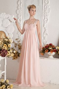 Baby Pink Straps Beading Natural Beauty Pageants Dress with Brush