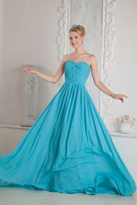 Sweetheart Ruche Interview Pageant Suits with Court Train in Baby Blue