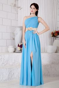 Aqua Blue Empire One Shoulder Pageant Girl Dresses with Beaded Belt