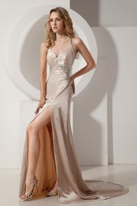 Halter and Court Beading Miss Universe Pageant Dress in Champagne