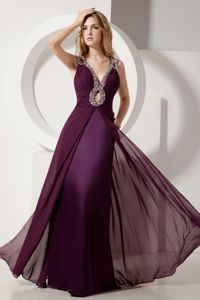 Dark Purple Pageant Dresses Decorated Beading Straps with Keyhole