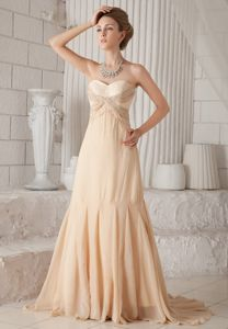 Princess Beading Beauty Pageant Dress in Champagne with Court Train