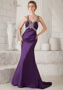 Eggplant Purple Beading Straps Pageant Dress in Mermaid with Brush