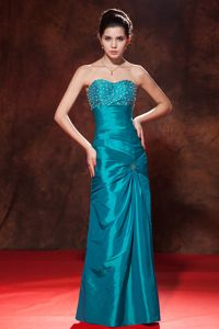 Eureka Sheath and Beading Sweetheart Prom Pageant Dresses in Teal