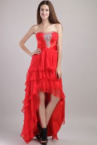 Red Empire High-low Beading Interview Pageant Suits with Layers Ruffles