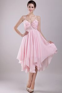 Pink Spaghetti Straps and Asymmetrical Beading Interview Pageant Suits