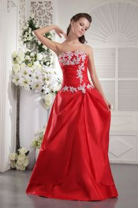Fort Bragg Red Pageant Girl Dresses in Princess with White Appliques