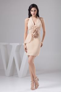Halter Ruching and Flowers Accent Pageant Dresses in Champagne