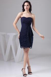Navy Blue Bow Decorated Youth Pageant Dresses in Chiffon and Lace