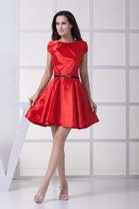 Red Round Neck Youth Pageant Dresses with Black Bow Decorated Belt