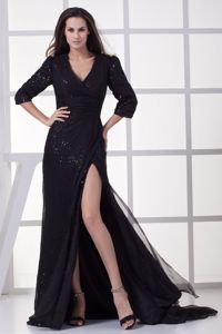 V-neck 3/4 Sleeves for Sequin Pageant Dress with High Slit and Sweep
