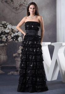 Ruched Sash and Layers Carmel Miss Universe Pageant Dress in Black
