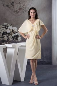 Shawl for Light Yellow Ruching Short Pageant Dress Patterns in Sheath