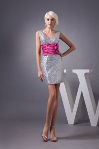 Silver V-neck Miss Universe Pageant Dresses with Hot Pink Ruche Belt