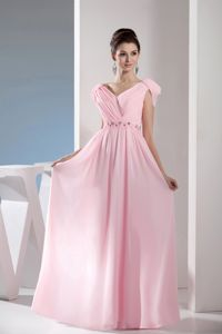 Cap Sleeves for Beading V-neck Pink Pageant Dresses with Side Zipper