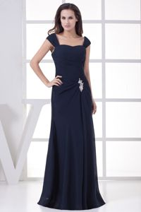 Tucson Navy Blue Wide Straps Appliques Long Interview Pageant Suits