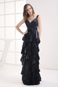 Straps for Navy Blue V-neck Ruffled Layers Miss Universe Pageant Dress