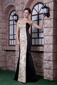 Black and Champagne Embroidery Beauty Pageant Dress in Mermaid