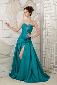 Brush Train for Turquoise Sweetheart Prom Dress Decorated Beading