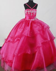 Beautiful Straps Fuchsia Little Girl Pageants Dresses with Beading and Ruffles