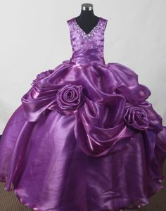 Rolling Flower V-neck Beaded Ruched Purple Pageant Dresses for Little Girls
