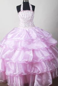 Baby Pink Beaded Halter Pageant Dresses for Kids with Ruffles in West Virginia