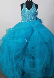 Handle Flowers Halter Blue Little Girls Formal Dresses with Beading and Pick-ups