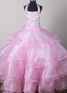 Halter Embroidered Beading Baby Pink Child Pageant Dress with Ruffles in Austin