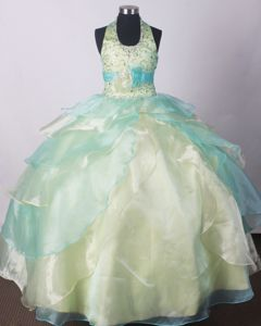 Ruffled Yellow Green Little Girl Pageant Dresses with Beading Handmade Flower