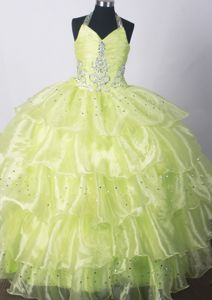 Ruched Halter Yellow Green Little Girl Pageant Dresses with Beading and Ruffles