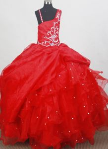 Brand New Asymmetrical Beaded Red Child Pageant Dress with Ruffles in Utah