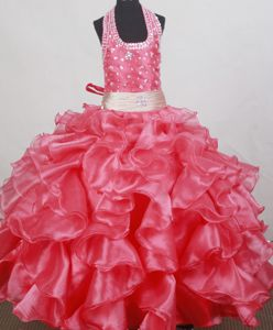 Ruffled and Beaded Halter Top Floor-length red Girl Pageant Dresses in Virginia