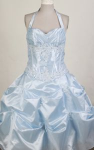 Halter Top Beaded Floor-length Little Girl Pageant Dress with Pick Ups in Texas