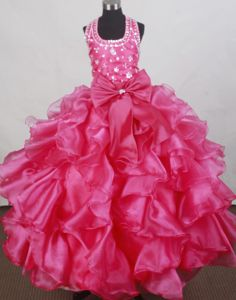 Fuchsia Halter Beaded Brand New Child Pageant Dress with Ruffles and Bowknot