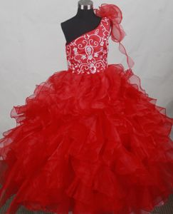 Red One Shoulder Flower Girl Pageant Dresses with Ruffles and Embroidery