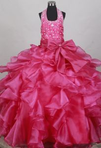 Halter Beaded Fuchsia Super Hot Child Pageant Dress with Ruffles and Bowknot