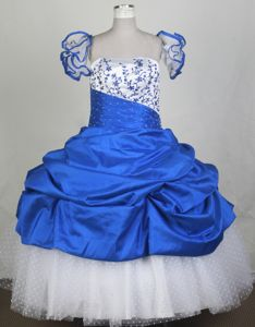Strapless Embroidered Blue and White Child Pageant Dresses with Pick Ups