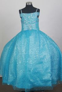 Light Blue Beaded and Sequined Pretty Flower Girl Dress with Spaghetti Straps