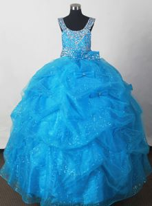 Scoop Aqua Blue Beaded Little Girls Formal Dress with Bowknot and Pick-ups