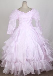 Embroidered Ruffled Baby Pink Flower Girl Pageant Dress with Long Sleeves