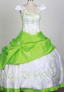 Sweet Square White and Spring Green Embroidered Flower Girl Pageant Dress