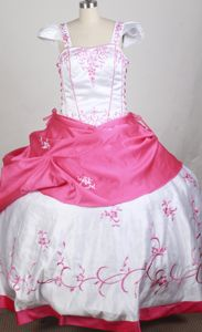 Cap Sleeves Embroidered Pageant Dresses for Teens in White and Hot Pink