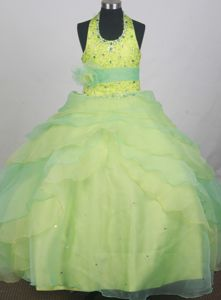 Spring Green Halter Flower Girl Pageant Dresses with Sequins and Beading